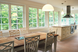 Energy-efficient fiberglass windows in kitchen